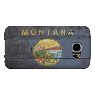 Montana-Staats-Flagge auf altem hölzernem Korn