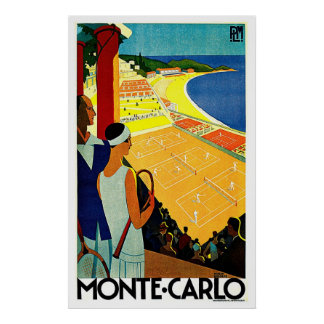 Monte Carlo Monaco Tennis-Reise-Kunst Poster