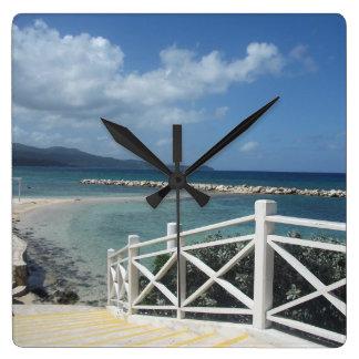 Montego Bay-Strand, Jamaika-Uhr Quadratische Wanduhr