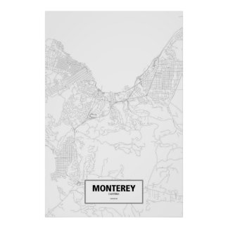 Monterey, Kalifornien (Schwarzes auf Weiß) Poster