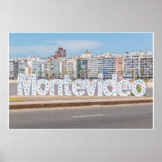 Montevideo-Buchstaben an Pocitos Strand Poster