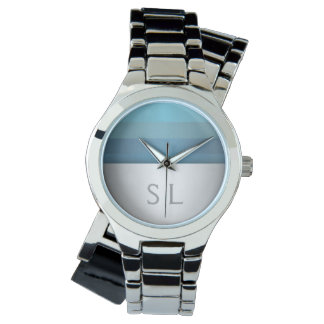 Montres Bracelet Monogramme bleu de motif de rayures de turquoise
