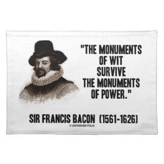 Monumente Sir-Francis Bacon des Esprits des Tischsets
