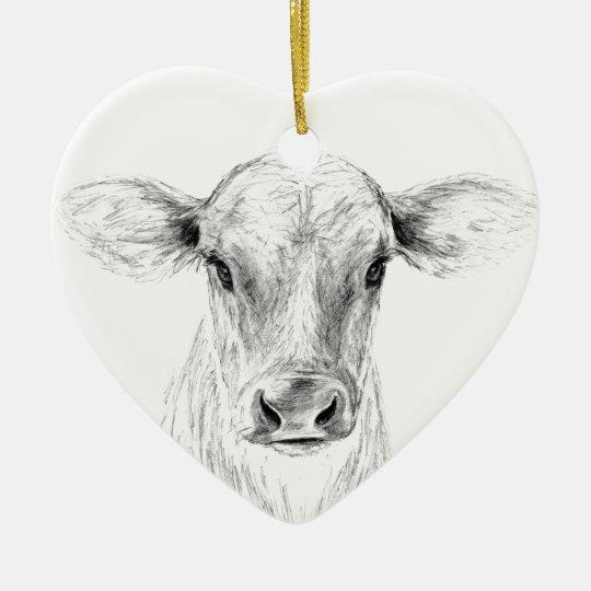 MOO eine junge Jersey-Kuh Keramik Herz-Ornament