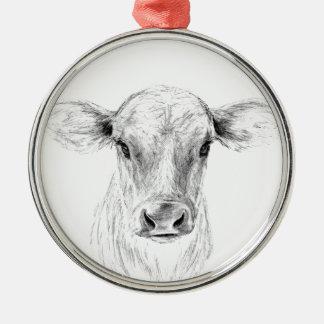 MOO eine junge Jersey-Kuh Silbernes Ornament