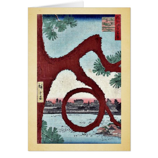 Moon Kiefer, Ueno durch Ando, Hiroshige Ukiyoe Grußkarte