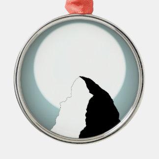 Moonlit Berg Rundes Silberfarbenes Ornament