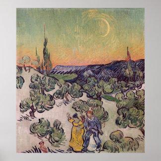 Moonlit Landschaft Vincent van Goghs  , 1889 Poster