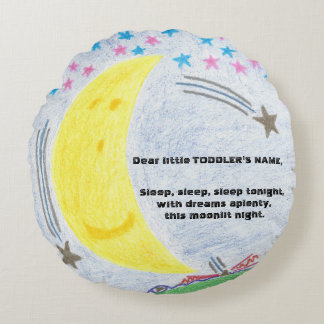 Moonlit Traum-Kleinkind-Bett-rundes Kissen