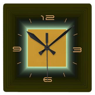 Moosgrün/gelb-orangee >Wall Uhr