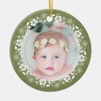 Moosige karierte Baby-WeihnachtsFoto-Verzierung