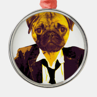 Mops at work silbernes ornament