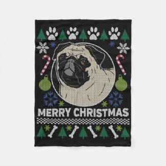 Mops-frohe Weihnacht-hässliche Strickjacke Fleecedecke