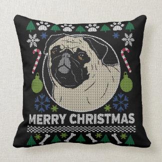 Mops-frohe Weihnacht-hässliche Strickjacke Kissen