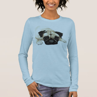 """Mops-"" Hundekunst-Shirt Langarm T-Shirt"