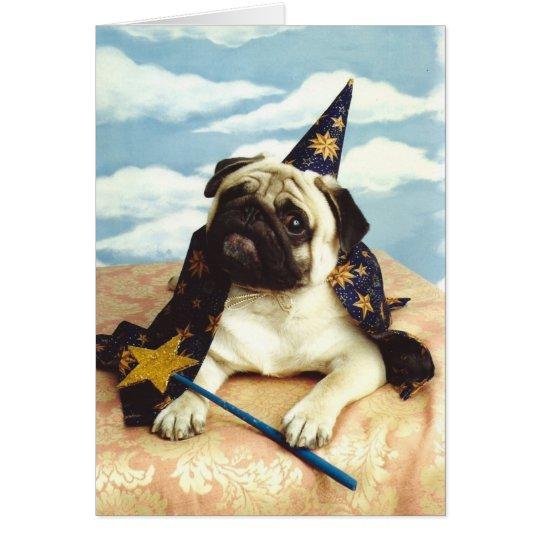 Mops-Hundezauberer-Magier Grußkarte
