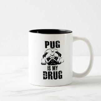 Mops ist meine Droge Zweifarbige Tasse