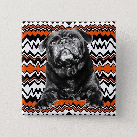 MOPS-KNOPF Orange, Schwarzer u. weißer KRASSER ZAG Quadratischer Button 5,1 Cm