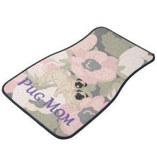 Mops-Mamma-Mohnblumen-rosa mit BlumenBlumen Automatte