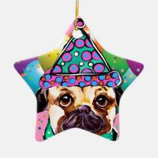 Mops-Party-Hund Keramik Ornament