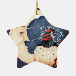 Mops Sie zum Mond! Keramik Ornament