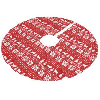 Mops-Silhouette-Weihnachtsstrickjacke-Art-Muster Leinenimitat Weihnachtsbaumdecke