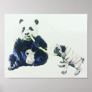 Mops und Panda Poster
