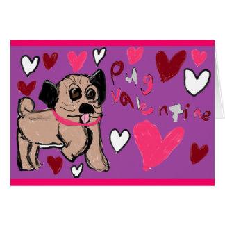 Mops Valentine Grußkarte