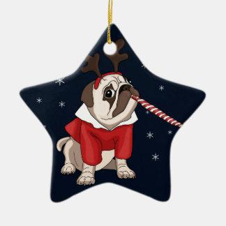 Mops-Weihnachten Keramik Ornament