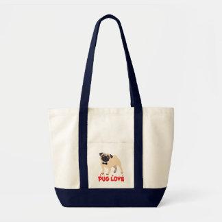 Mops-Welpen-HundeCartoon-Leinwand-Taschen-Tasche Tragetasche