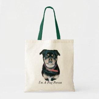 Mopshundeporträtrealist-Kunstschwarzes und tan Tragetasche