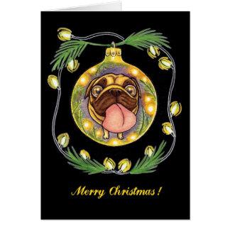 Mopsweihnachtsverzierung Grußkarte
