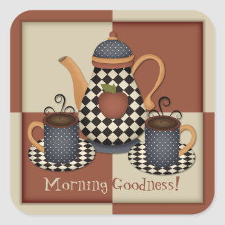 Morgen-Güte-Kaffee-Aufkleber Quadratischer Aufkleber