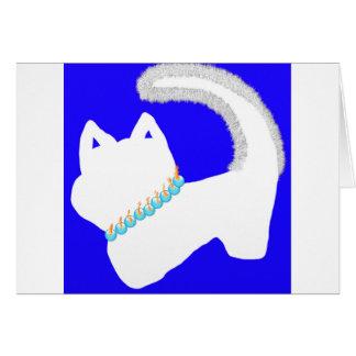Morgen Menorah Chanukka Karte mit weißer Katze