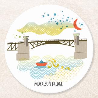 Morrison-Brücken-Portland-Untersetzer Runder Pappuntersetzer