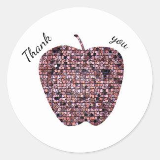 Mosaik-Buntglas-Apple-Lehrer danken Ihnen Runder Aufkleber