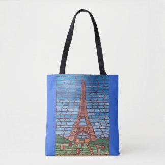 Mosaik, das Eiffel-Turm-Taschen-Taschen malt Tasche