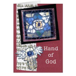 Mosaik-Davidsstern Und Hand des Gottes Karte