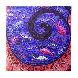 Mosaik-Fische Kleine Quadratische Fliese