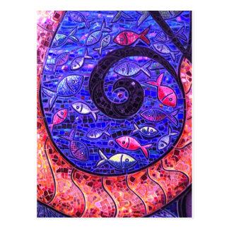 Mosaik-Fische Postkarte