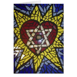 Mosaik-glühender Herz-Davidsstern Auf Blau Karte