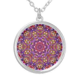 Mosaik-Muster-   Vintage Kaleidoskop-Halsketten Versilberte Kette