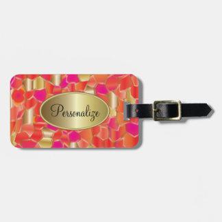 Mosaik-populäre Orange, Rosa und Goldentwurf Gepäckanhänger