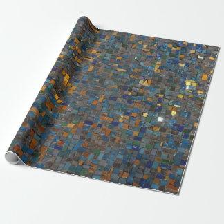 Mosaik-Steine im Blau und im Gold Geschenkpapier