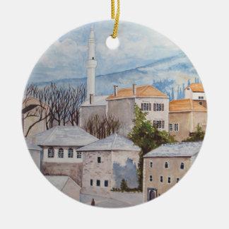 Mostar, Bosnien - AcrylTownscape Malerei Keramik Ornament