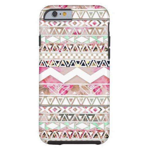Motif aztèque abstrait floral blanc rose Girly Coque iPhone 6 Tough