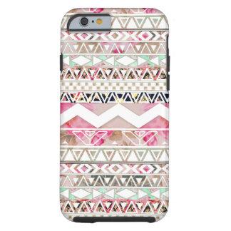 Motif aztèque abstrait floral blanc rose Girly Coque Tough iPhone 6