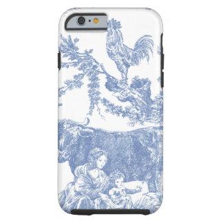 Motif bleu vintage de Toile - vache et rôle Coque iPhone 6 Tough