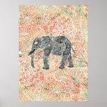 Motif coloré de henné d'éléphant tribal de Paisley Posters