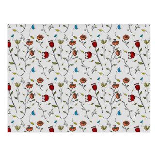 Motif coloré d'impression de fleurs d'épice carte postale